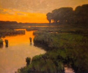 Lrg-24x20-Gold-Twilight-Marsh-Impressionism-wetlands-Landscape-Art-Oil-Painting