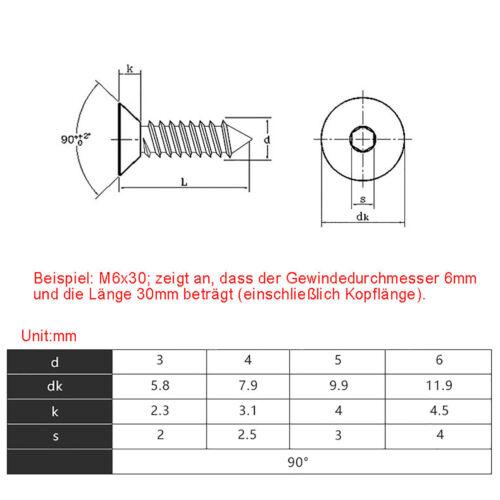 M3 M4 M5 M6 Black Flat Head Self-Tapping Screw Socket Cap High Tensile Grade 8