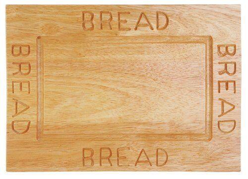 Bread Plate Board Rubberwood Slicing Hygenic Cutting Engraved Non Slip Base