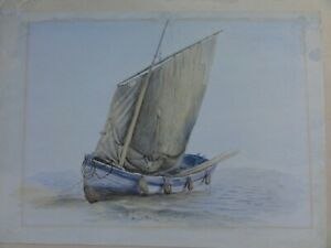 Antique Watercolour Painting Of A Sail Boat