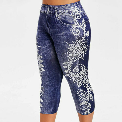 Women Printed Yoga Fitness Leggings Running Gym Stretch Sports Pants Trousers DZ