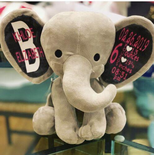 Personalized Birth Announcement Grey Elephant Stuffed Animal Plush