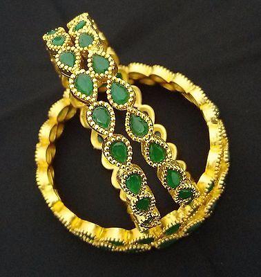 Latest Indian Bollywood Designer 18K Emerald Drop Shape 4p Bridal Bangle Set