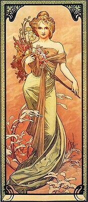 Mucha Lady with flowers Vintage Poster Repro FREE SHIPPING