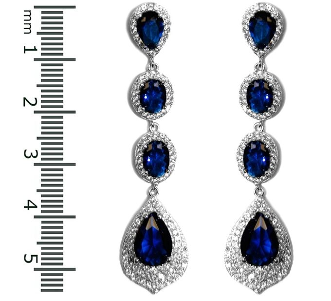 THE WOMAN WHO HAS IT ALL PAVE SAPPHIRE CZ TEARDROP DANGLE BRIDAL EARRINGS