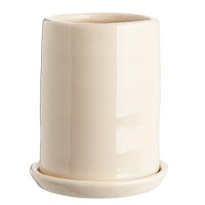 Vaso In Ceramica Color Crema Con Piattino/bouquet/foro Nella Parte Inferiore Da Ib Laursen-