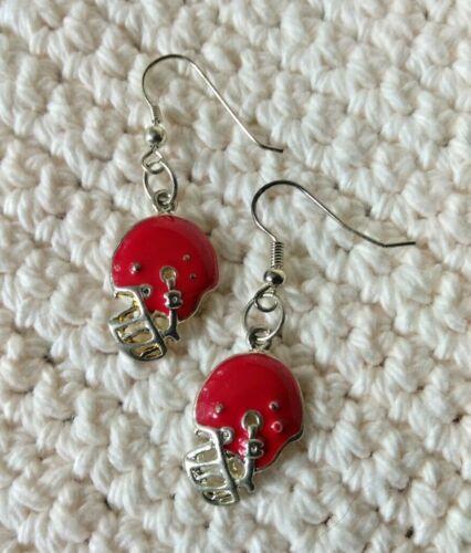 Earrings High School Sports Charm Earrings Red Football Helmets College