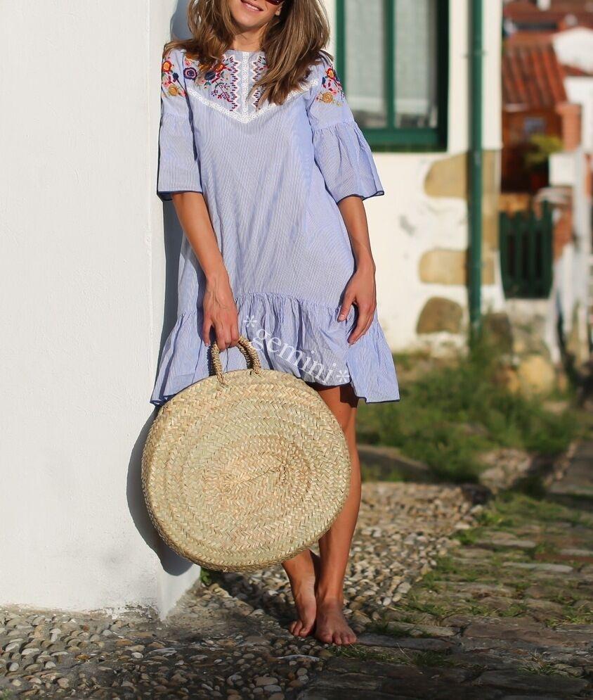 68b1ce405fac Zara MINI fiori RICAMO Floral embroidered Striped Dress S 36 Strisce abito  noslzt7556-Vestiti