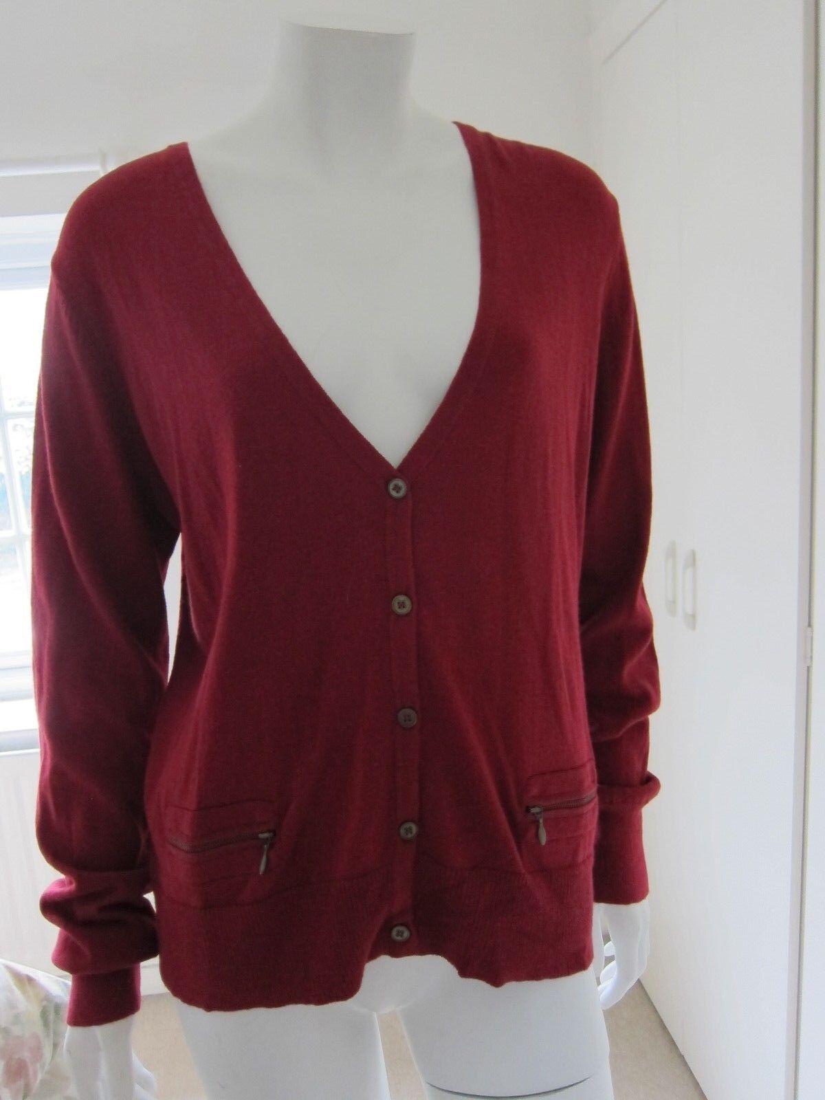 Pulsante Laura Ashley Donna Cardigan velluto rosso, tasche con zip, taglia RRP