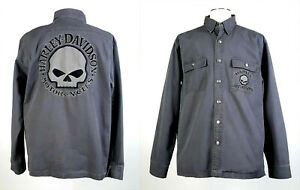 Details about Harley Davidson Sz L Willie G Skull Heavy Canvas Cotton Jacket Smoke Gray