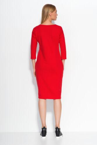 Ladies Work Office Casual Scoop Neck 3//4 Sleeve Knee Length Tunic Dress FA518