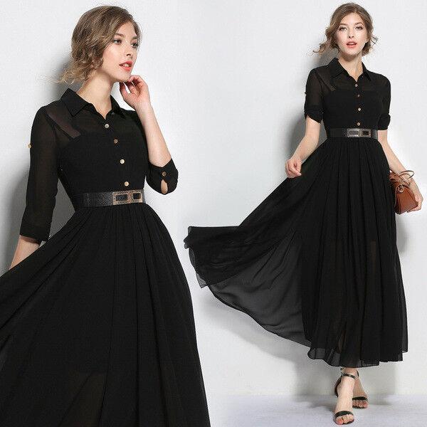 Elegante vestito abito lungo bianco scampanato nero lungo lungo lungo slim morbido 4792 914ecd