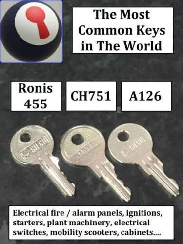 un de chaque envoyé 1st p/&p RON455 CH751 A126 Most Common Clés dans le monde