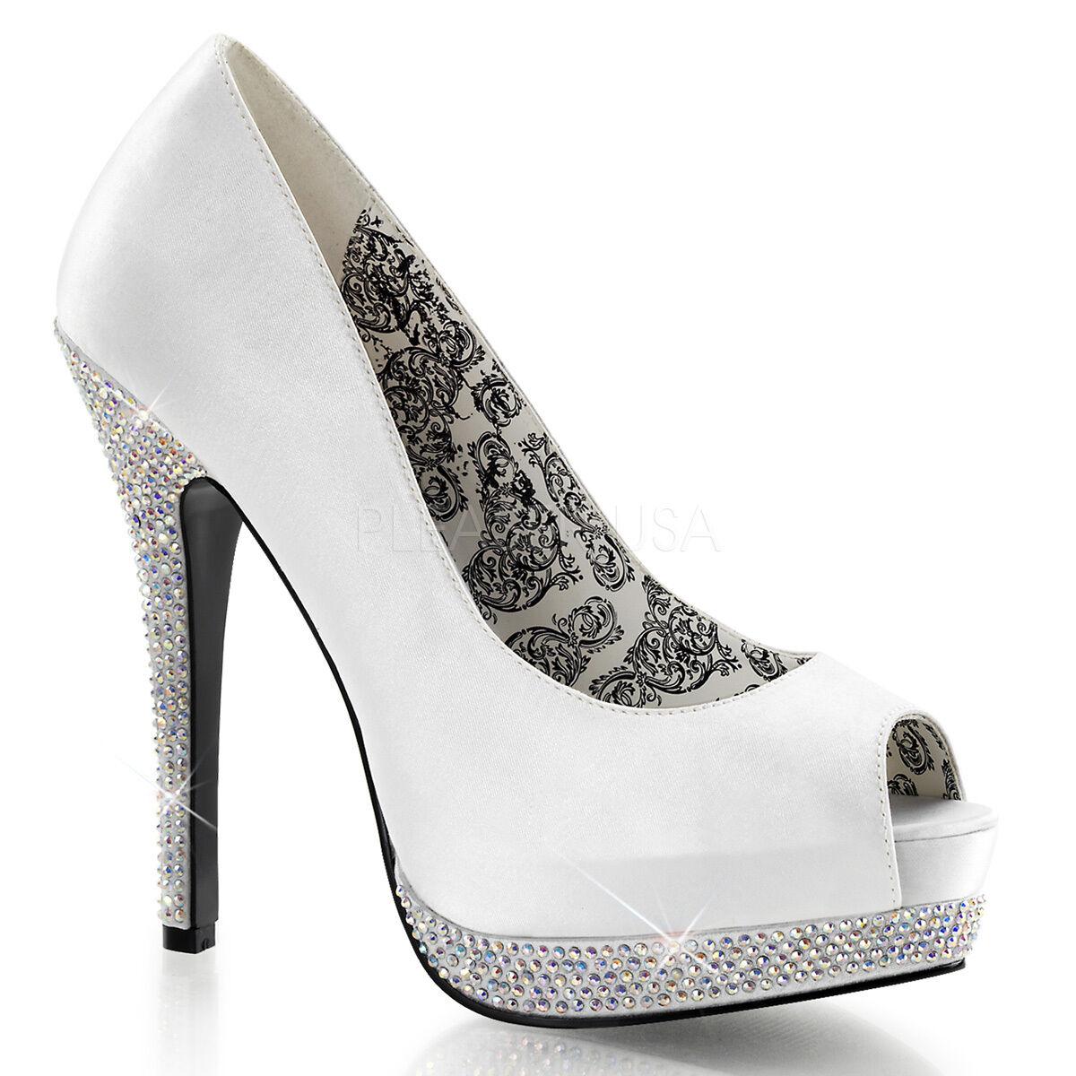 Bella 12R Satin Rhinestone Platform Open Toe High Heel Shoe Wedding Prom Ivory