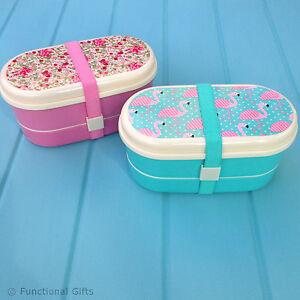 sass belle bento lunch box vintage rose flamingo portable food containe. Black Bedroom Furniture Sets. Home Design Ideas