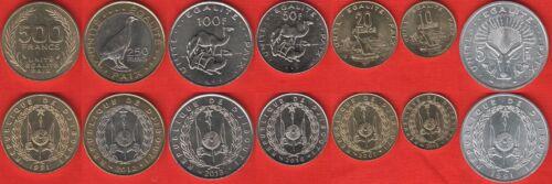 Djibouti set of 7 coins 5-500 francs 1991-2013 UNC