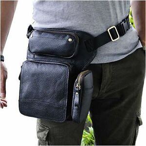 f7c66d6491e1 Details about Men Genuine Leather Bum Fanny Waist Pack Drop Leg Bag Bike  Cycling Waist Hip Bag