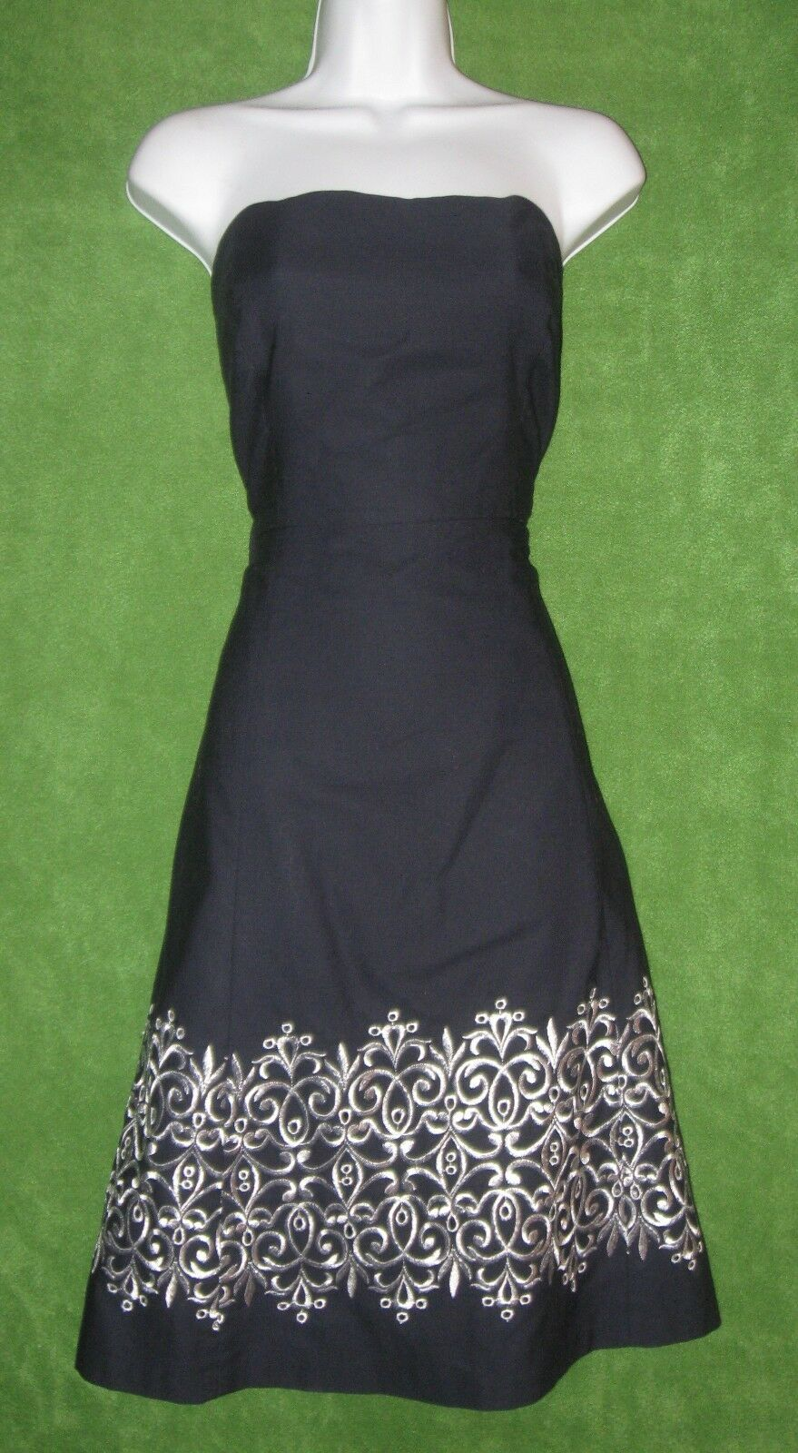 Ann Taylor Navy bluee White Embroidered Cotton Strapless Summer Dress 10