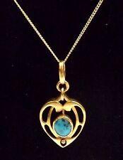 Antique Art Nouveau 9ct Gold & Turquoise Pendant With Chain - c.1900 - 1910