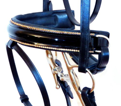 FSS STELLAR Curve GOLD CRYSTAL RHINESTONE Bling PIPING Comfort PATENT Bridle New