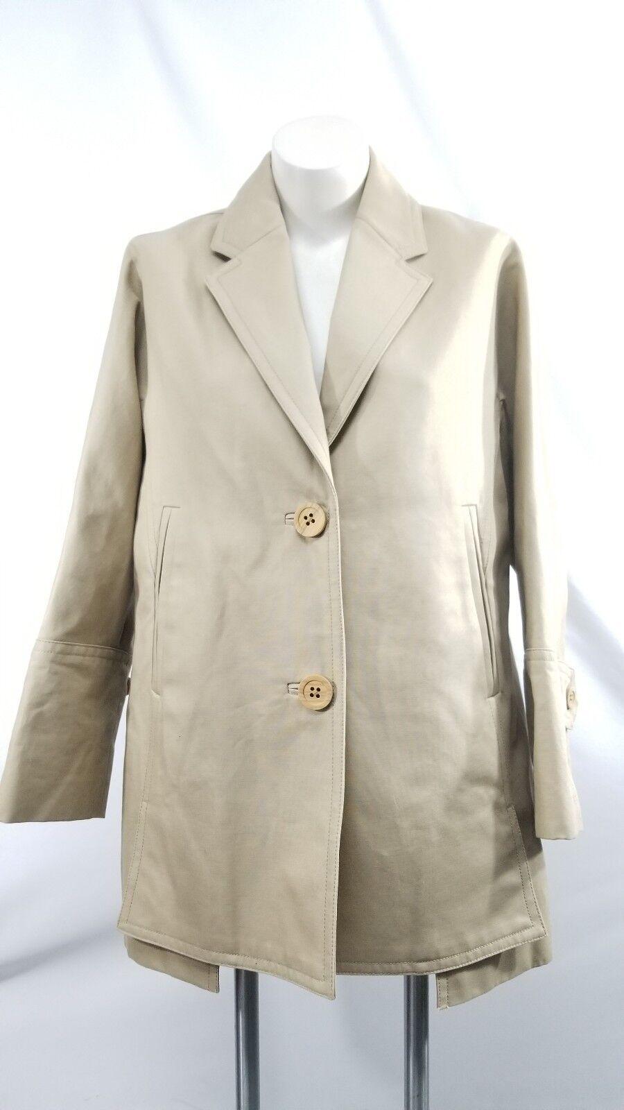J. Crew women's Bonded Cotton Trench coat coat coat khaki tan lined wood buttons size 12P 91562c