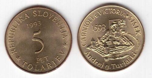 5 TOLARJEV UNC COIN 1993 YEAR KM#9 400th ANNI BATTLE OF SISEK SLOVENIA