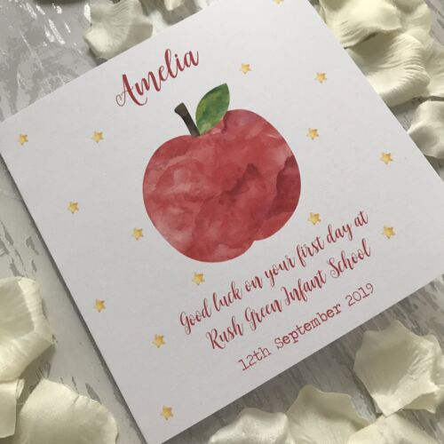 Personalised First Day at Big School Card Apple Good Luck Son Daughter Reception