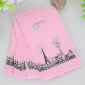 50pcs//lot  Pink Eiffel Tower Packaging plastic bags with Handle Small Gift Bags