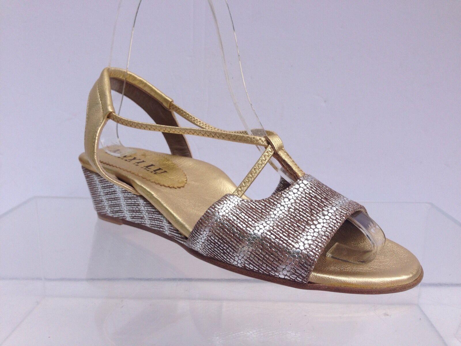 Anyi Lu Linda Or argent Sandale Femme Taille 34.5 Neuf  385