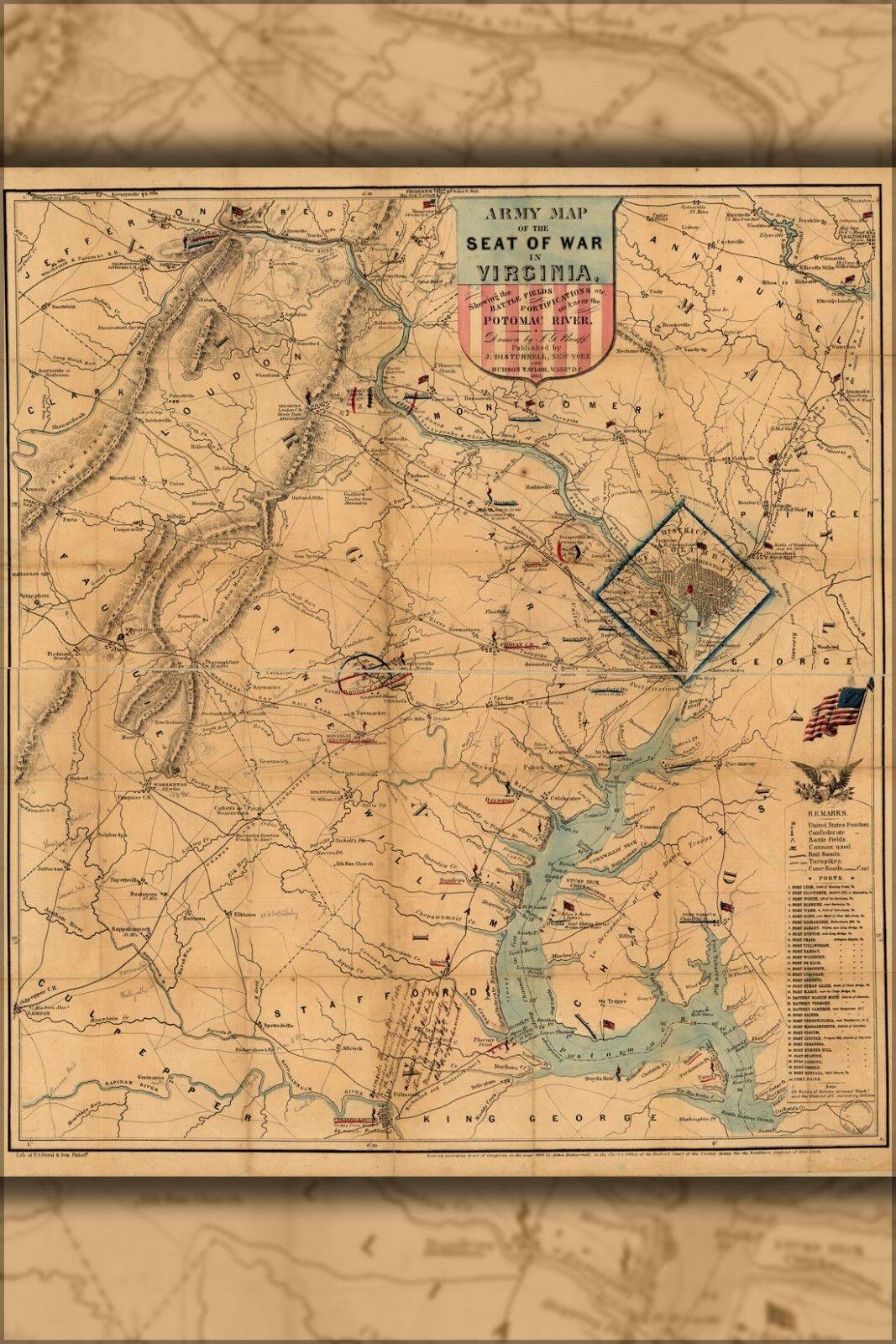 Poster, Molte Misure; Guerra Civile Civile Civile Mappa Del Virginia & Washington D.c. 3cfd15