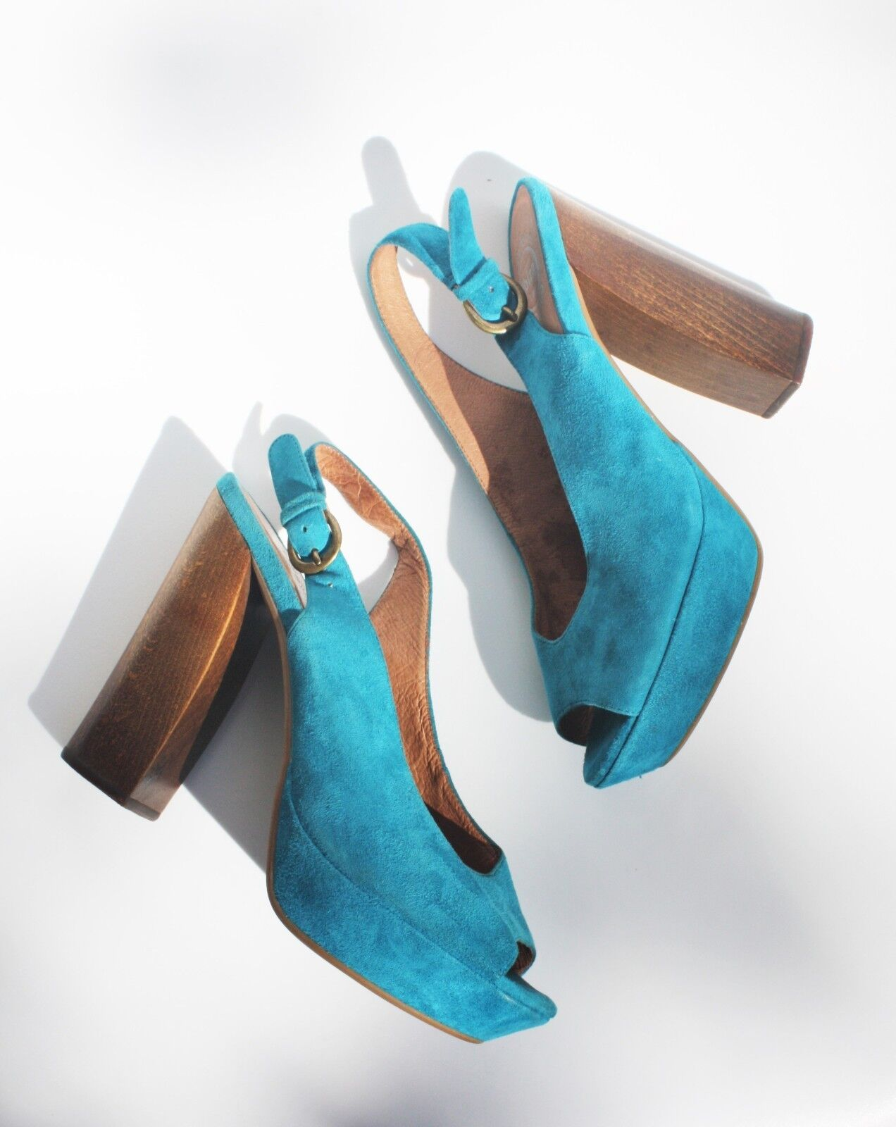 ordina adesso JEFFREY CAMPBELL FRIEND PLATFORMS 7 7 7 blu Suede scarpe Chunky Heels Peep Toe Pumps  consegna veloce