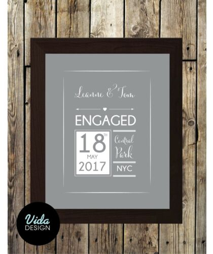Engagement gift Personalised framed print