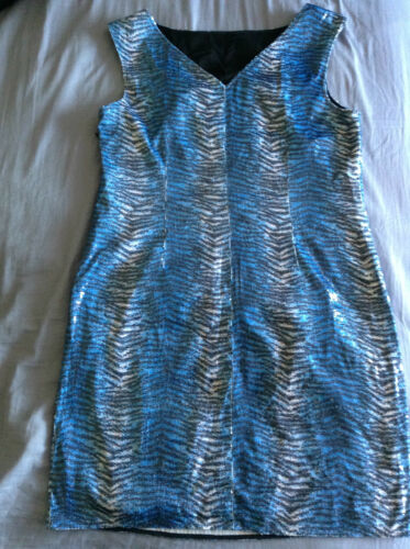 Mermaid Tiger Uk14 Party Blue Print Sequin Eur42 Animal Vintage Dress Sleeveless rX1xXpZqw