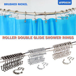 Details About Wimaha Rustproof Shower Curtain Rings Roller For Bathroom Stainless Steel