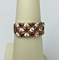 18K Yellow Gold Natural Ruby White Crystal Ring Band Vintage Italy