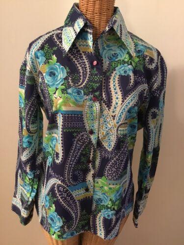 PAISLEY Button Down Shirt  Vintage 1970/'s Blouse Rose Floral Print Crochet Lace Trim