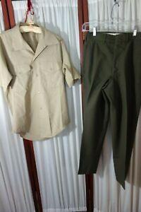 USMC-Uniform-S-Pants-amp-Short-Sleeve-Shirt-VG-VIETNAM-ERA-Cistagnoli-R-D-SALE