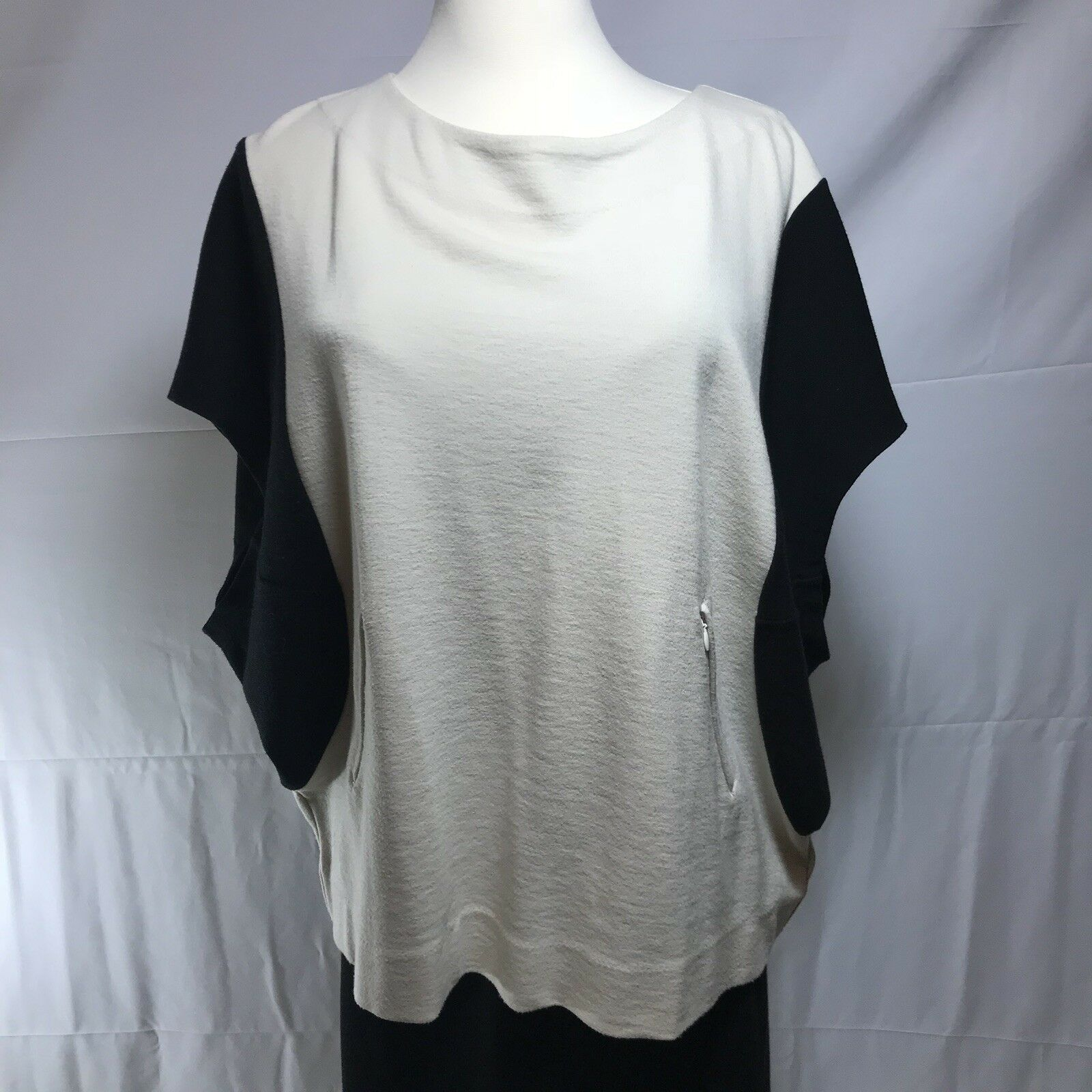 BY MALENE BIRGER schwarz & Off Weiß Farbe Block Tunic Top Blouse S