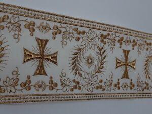 Orphrey-Vintage-Cruz-Oro-Cojos-Encendido-Apagado-Blanco-Banda-11-4cm-Ancho-0-9m