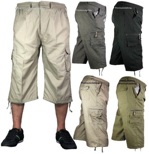 Mens 3//4 Summer Shorts Elasticated Waist Cargo Combat Three Quarter Pants 3//4