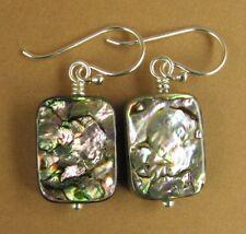 Abalone paua shell earrings. Oblong. Green/purple. Sterling silver 925