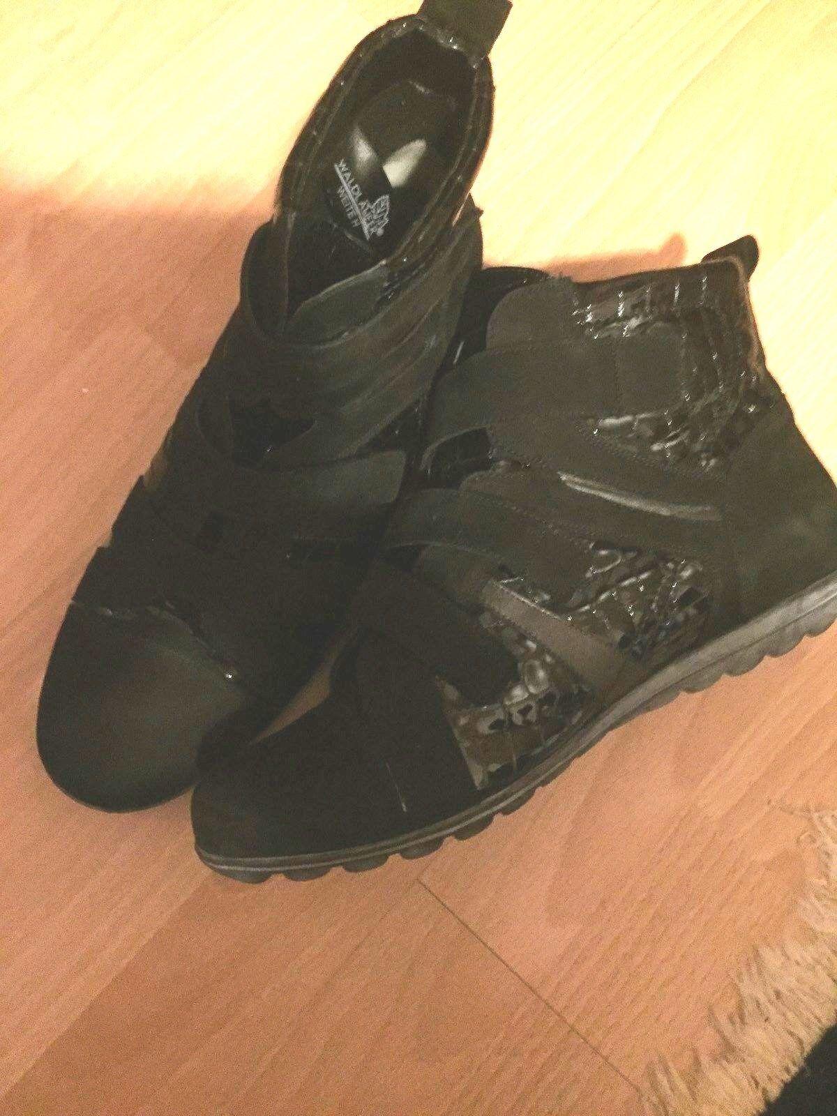 Waldläufer schwarze Leder + Lackleder Stiefeletten Klettverschluss Gr. 42 H