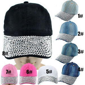 Details about Women s Men s Rhinestone Studded Baseball Cap DIY Bling Visor  Denim Tennis Hats 36291e116b2