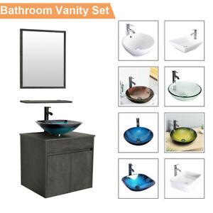 24 In Bathroom Wall Vanity Set Sink Cabinet Vessel Glass Ceramic W Faucet Combo Ebay