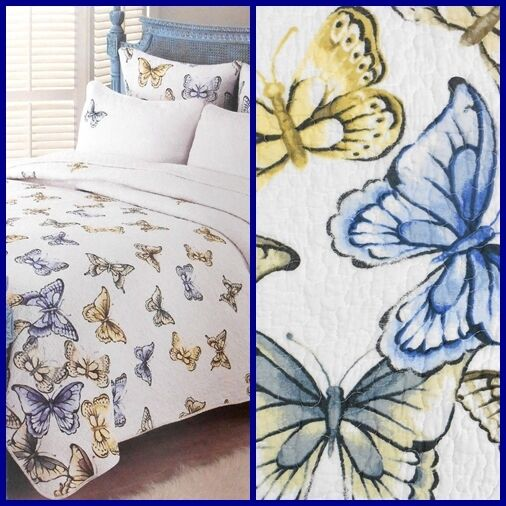 Cynthia Rowley BUTTERFLY Full Queen Quilt Coverlet blueeee Yellow White Butterflies