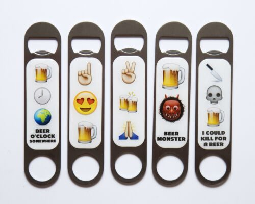 "Emoji Bar Blade Magnetic Bottle Opener Heavy duty Stainless Steel Silver 7/"""