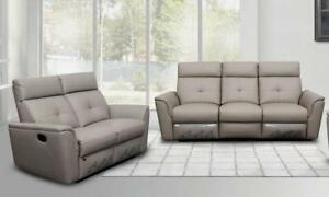 Details about Contemporary Light Grey Italian Leather Recliner Sofa Set  2Pcs Modern ESF 8501