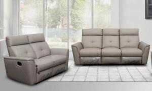 Contemporary Light Grey Italian Leather Recliner Sofa Set 2pcs