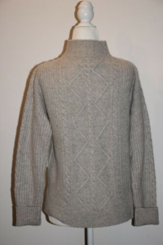 CYNTHIA ROWLEY 100/% 2 Ply Fluffy Cashmere High Neck Cable Knit Sweater XS,S,M,L