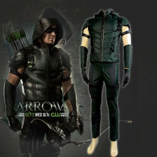 Green Arrow S4 Oliver Queen Costume Cosplay Outfit Leather Uniform Halloween